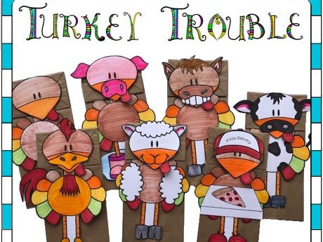 Thanksgiving Craft Turkey Trouble Paper Bag Puppets