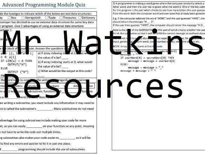 GCSE Computer Science Paper 1 Revision Work Booklet - Topic Quizzes and Model Answers - AQA 8520