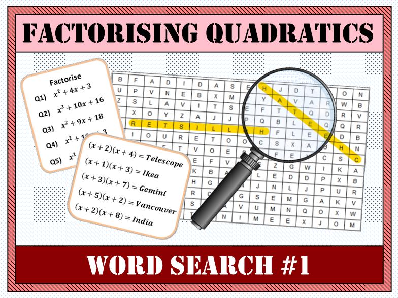 Factorising Quadratics Word Search #1