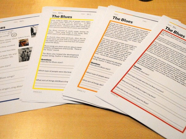 The Blues: Differentiated Literacy Worksheets