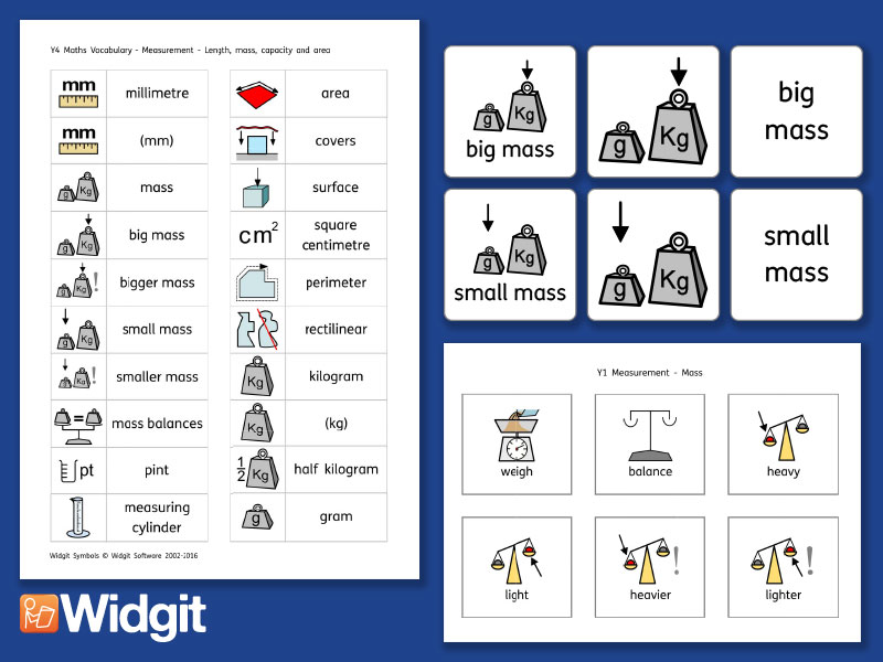 Mass Pack - Maths Vocabulary with Widgit Symbols