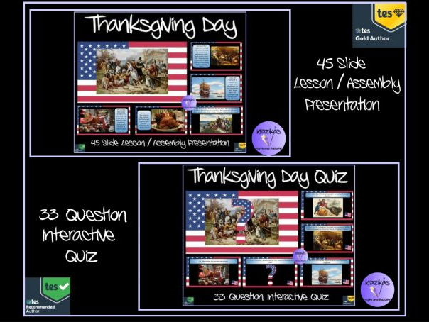 Thanksgiving Day - 45 Slide Lesson / Assembly Presentation and 33 Question PowerPoint Quiz