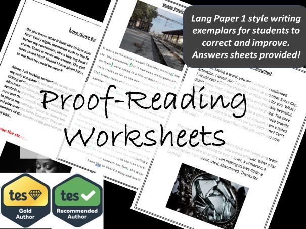 GCSE English Language Paper 1. Proof Reading Worksheets.