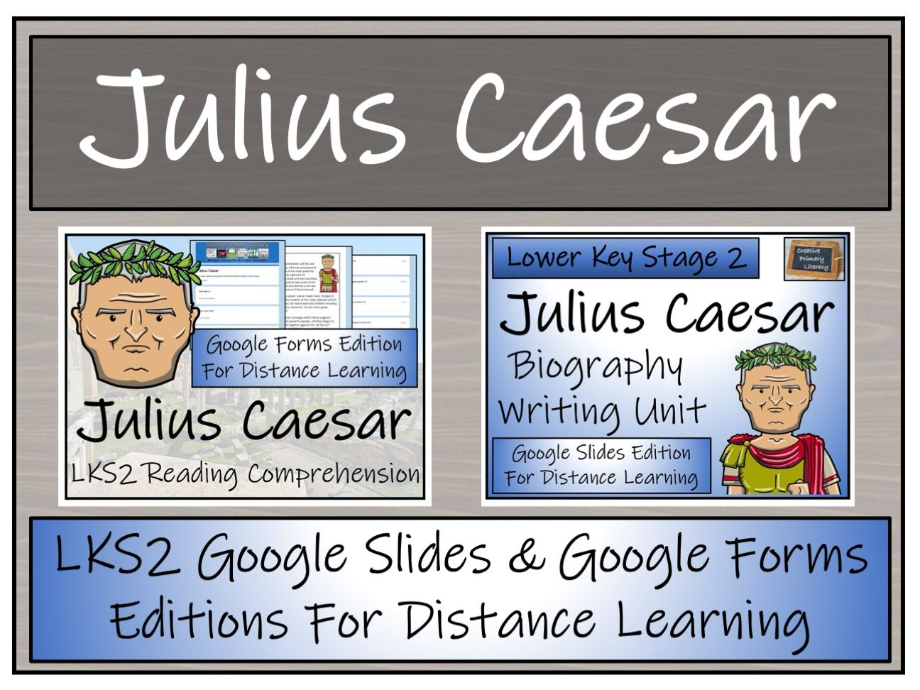 LKS2 Julius Caesar Biography & Reading Comprehension Distance Learning Bundle