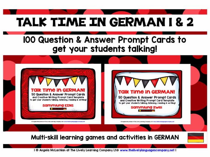 GERMAN SPEAKING PRACTICE 1 & 2 - 100 Q & A PROMPT CARDS - GENERAL CONVERSATION