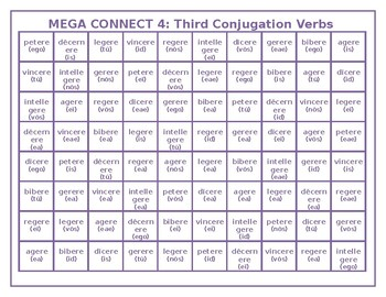 Third Conjugation Latin verbs Mega Connect 4 game