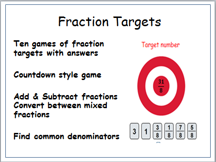 fractions Countdown style game. Add /Subtract Convert Mixed Numbers, find the target fraction