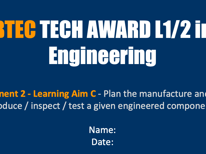 BTEC  L1/2 Award in Engineering 2019 Component 2
