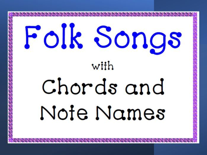 Easy Piano Folk Songs: Note Names and Chords