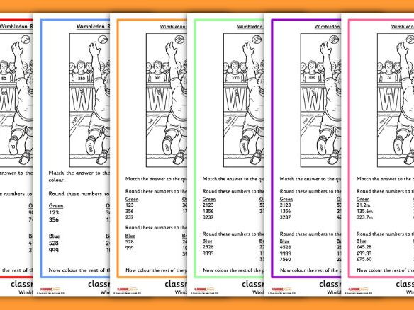 Wimbledon Rounding Worksheets Colour by Numbers