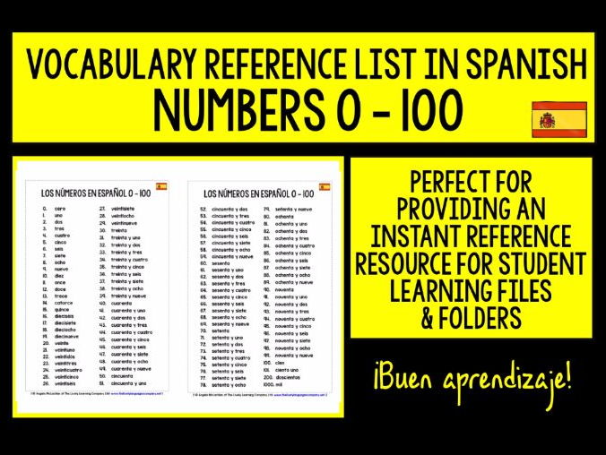 SPANISH NUMBERS 0-100 VOCABULARY REFERENCE LIST