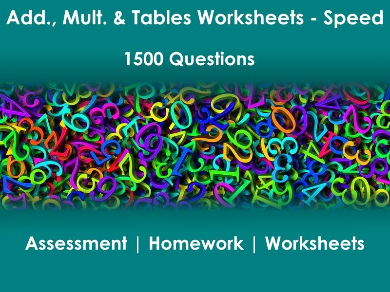 15pg Addition Multiplication Tables Worksheets & Ans Keys - 1500 problems