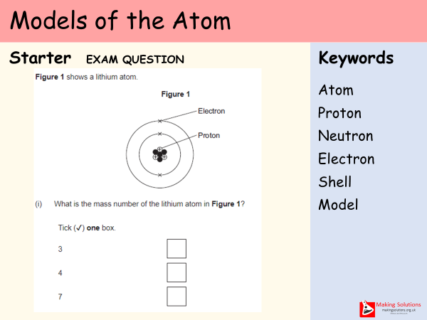 AQA Chapter 1 - Lesson 5 - Models of the Atom