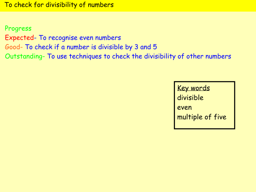 Lesson slides for use when teaching divisibility