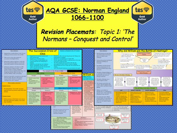 AQA GCSE: Norman England 1066 – 1100 Revision Placemats (Topic 1)