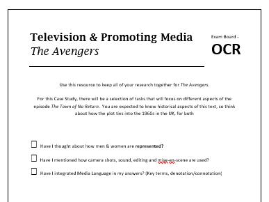 OCR 2017 Media Studies - The Avengers Work Booklet