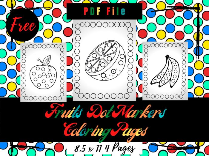 FREE Fruits Dot Markers Colouring Pages, Free Fruits Farm Printable Dot Markers