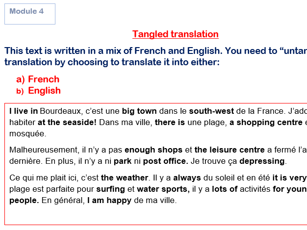 Tangled Translations GCSE French Module 4 (Answers Included!) Studio