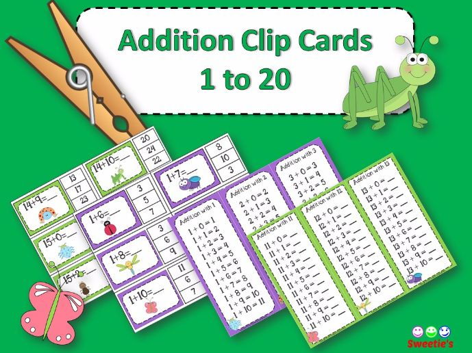Addition Facts 1 to 20 Clip Cards - Bugs