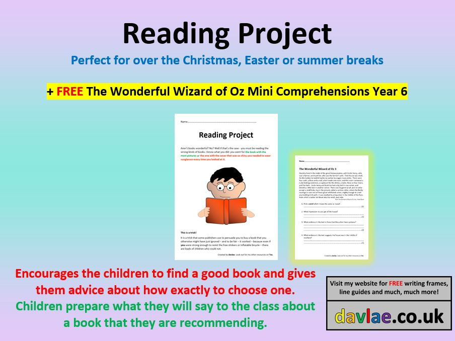 Reading Project for Upper KS2 (+ FREE THE WONDERFUL WIZARD OF OZ MINI COMPREHENSIONS YEAR 6)