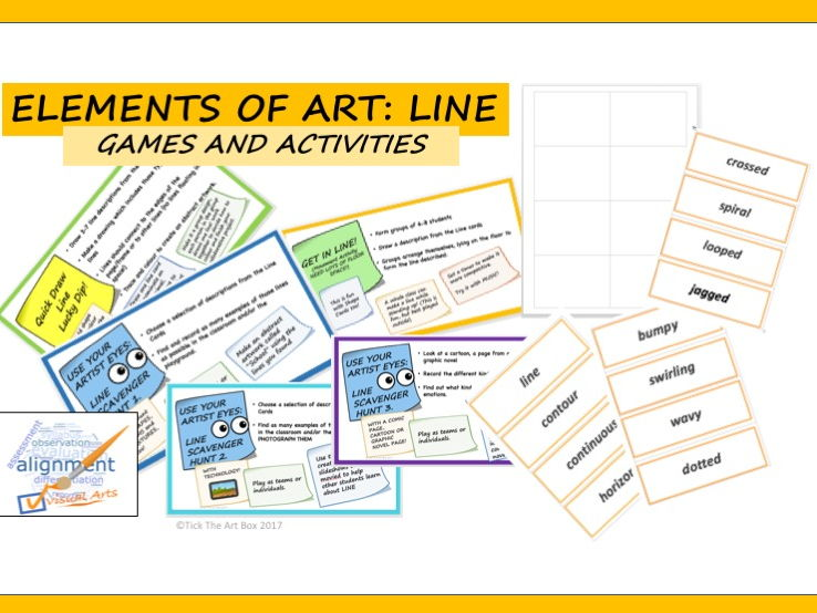 Elements of Art Vocabulary Word Wall Cards: LINE (with activities)