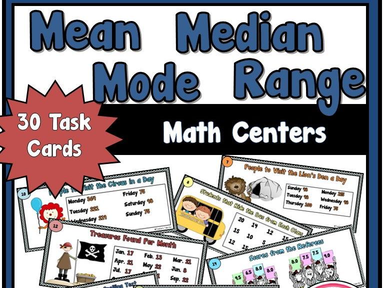 Mean Median Mode Range Task Cards