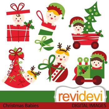 Christmas Clip Art Cute.Christmas Babies Clip Art Red Green Cute Baby Clipart 08113