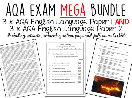 AQA GCSE English Language Paper 1 AND Paper 2  BUNDLE - 40% Discount