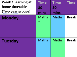Home learning time table Week 1