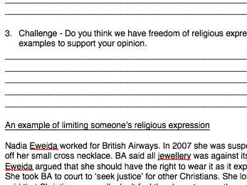 Eduqas RS GCSE New Spec. Human Rights Contingency Booklet rel. extremism, expression & censorship