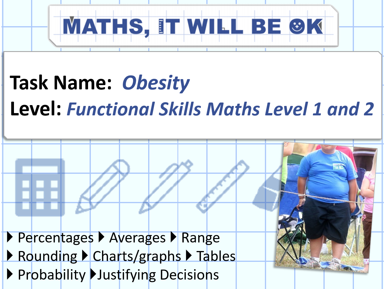 FS Maths Level 1 and 2 - Statistics -Obesity - Exam Style