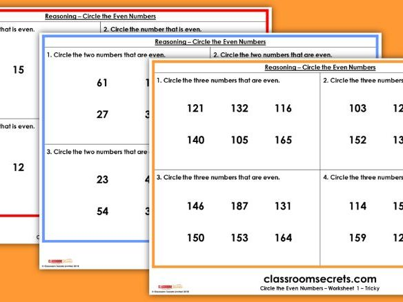 SATs KS1 Reasoning Circle the Even Numbers Test Practice