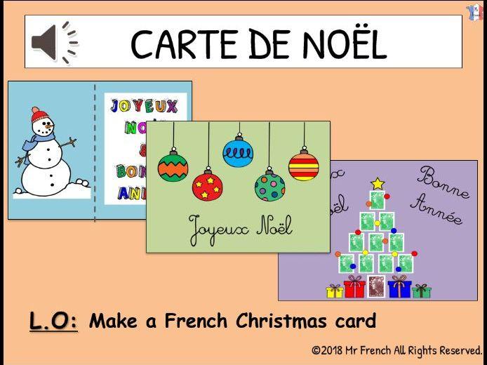 Carte de Noel (French Christmas cards)- 1 lesson! Y3 ->Y6 (2nd Grade-> 5th Grade)