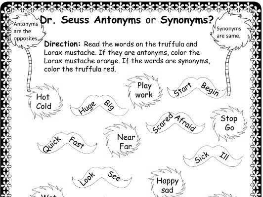 Dr. Seuss Antonyms or Synonyms Activity