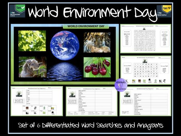 World Environment Day - Set of 6 Differentiated Word Searches and Anagrams