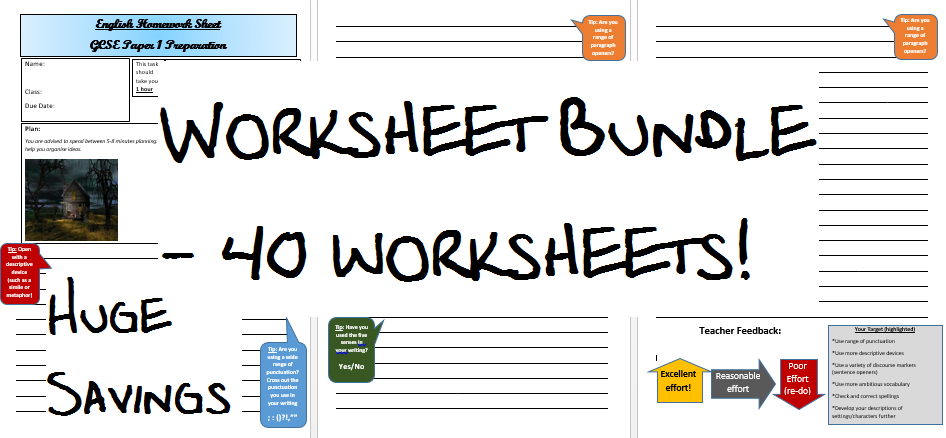 40 X Aqa Gcse English Language Writing Worksheets Easy To Mark