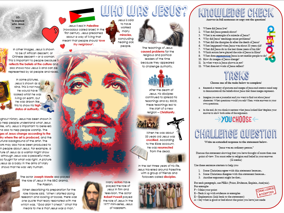 Who Was Jesus? Task Mat and Activity Sheet