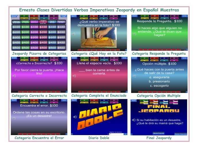 Imperative Verbs Spanish Jeopardy Game