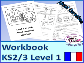 SEVEN SHEET PRIMARY KS2/3 FRENCH COPIABLE WORKBOOK: Greetings, name, descriptions, how you are, etc.