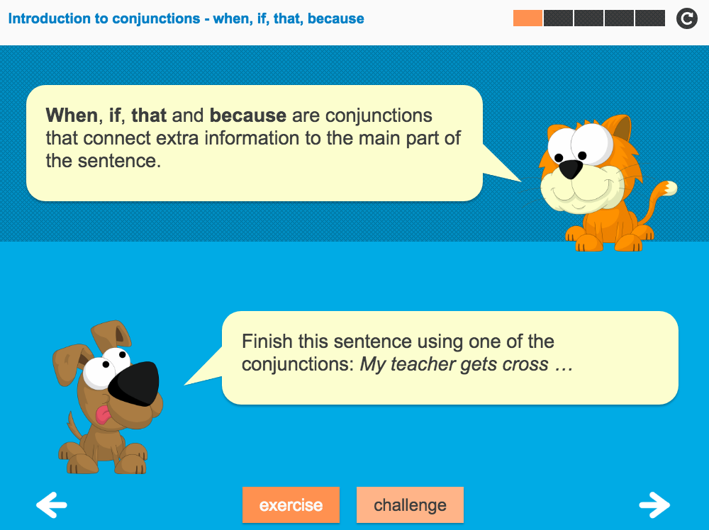 Conjunctions (when, if, that, because) Interactive Teaching Presentation - Year 2 Spag