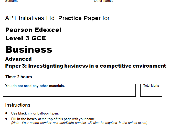 Practice (Mock) Exam Paper for Edexcel A Level Business June 2018 Paper 3 Context