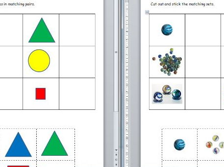Simple matching sheets with 2D shapes and pictures of marbles