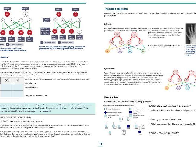 Home Learning - AQA Biology  - B6 Variation and Inheritance - Complete workbook