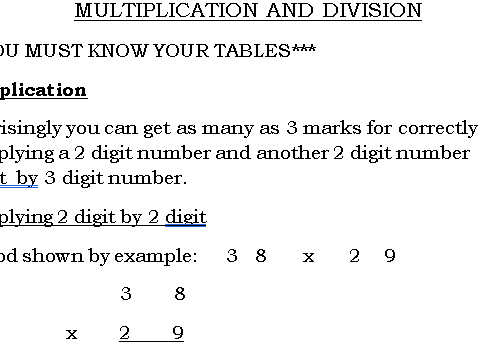 Multiplication and Division GCSE (9-1)
