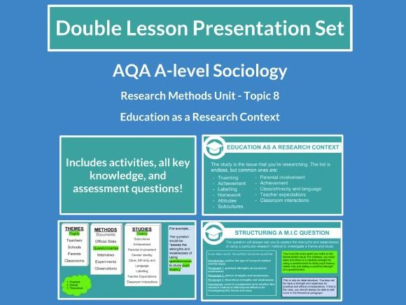 Education as a Research Context - AQA A-level Sociology - Research Methods - Topic 8