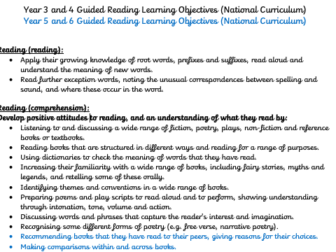 Guided Reading Learning Objectives for KS2