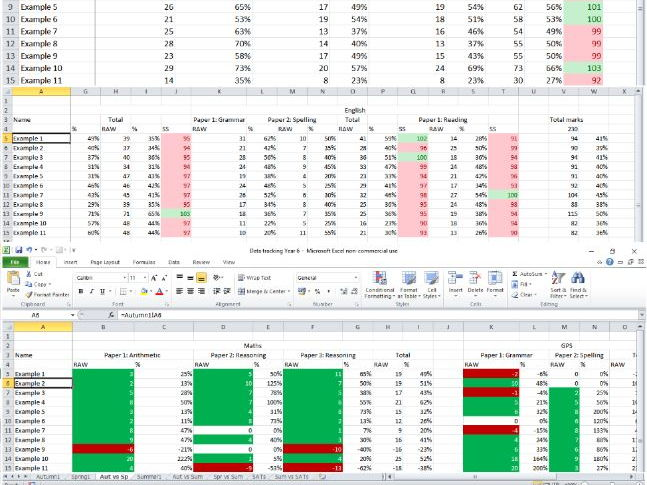 Data tracking spreadsheet
