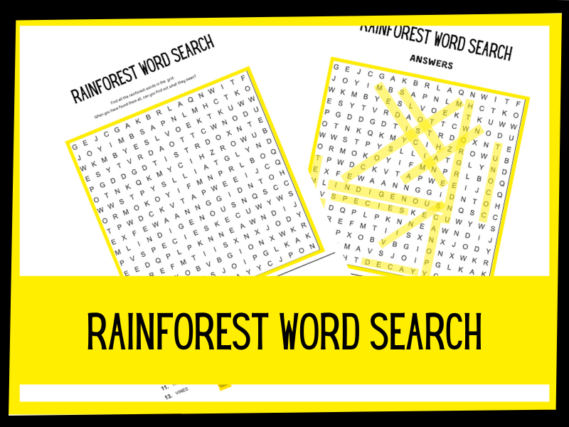 Rainforest wordsearch KS1 KS2 Primary science