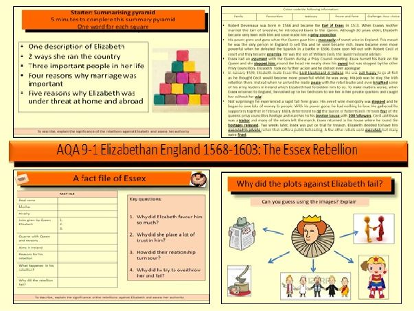 AQA GCSE History 9-1 Elizabethan England 1568-1603: The Essex Rebellion