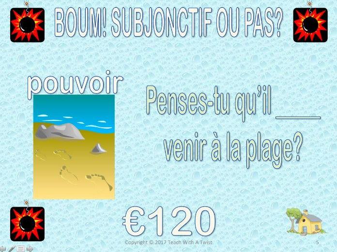 End of year / end unit grammar game: Subjonctif ou pas? BOUM!!!